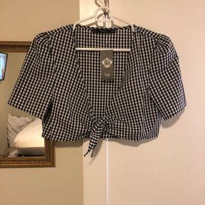NTW Gingham crop tie top